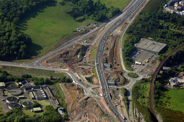 Bird's eye view of work undertaken during the development of the roadway leading to the New Forth Crossing/Queensferry Crossing