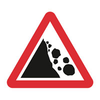 Sign indicating risk of landslides