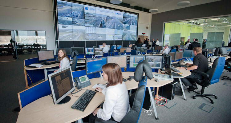 24 hour monitoring at the Traffic Scotland Control Centre