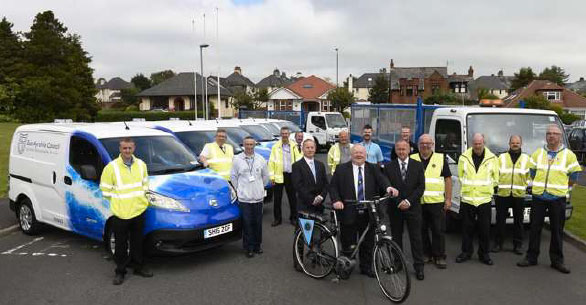 East Ayrshire Council staff with some of their fleet vehicles, including 7 electric vans funded through the Switched On Fleets initiative (Source: East Ayrshire Council).