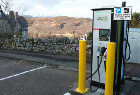 50 kW Rapid Charge Point in the Highlands offering AC Type 2, DC CCS(COMBO 2) and DC CHAdeMO connectors (Source: Urban Foresight)