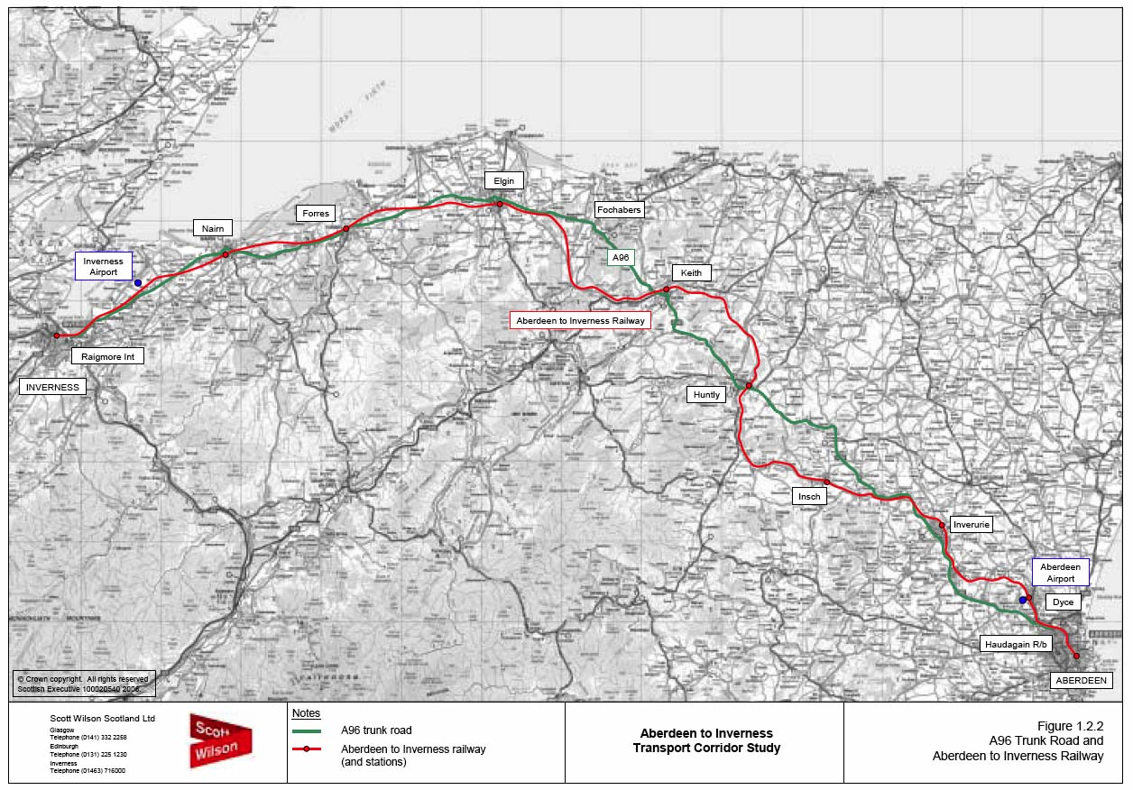 image of Figure 1.2.2 A96 Trunk Road and Aberdeen to Inverness Railway