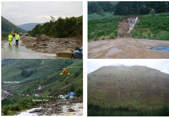 Examples of landslides affecting the Scottish trunk road network