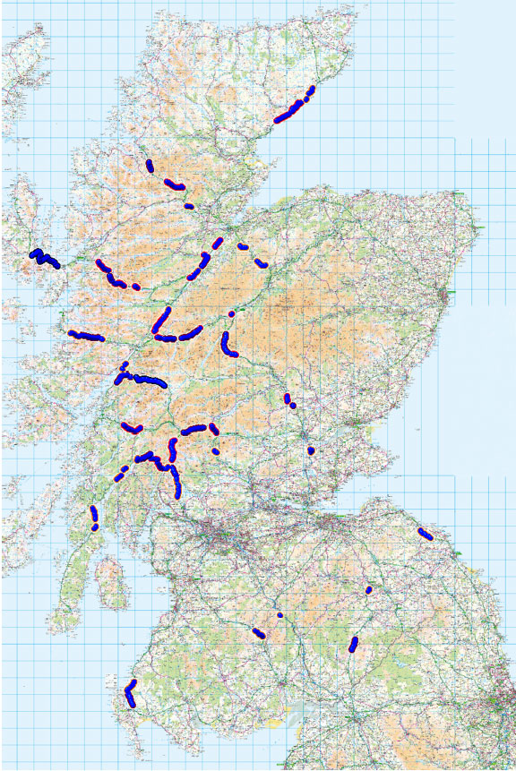 Map of Scotland showing the 67 highest hazard ranking sites in Scotland