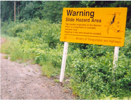 Example of landslide hazard information sign.