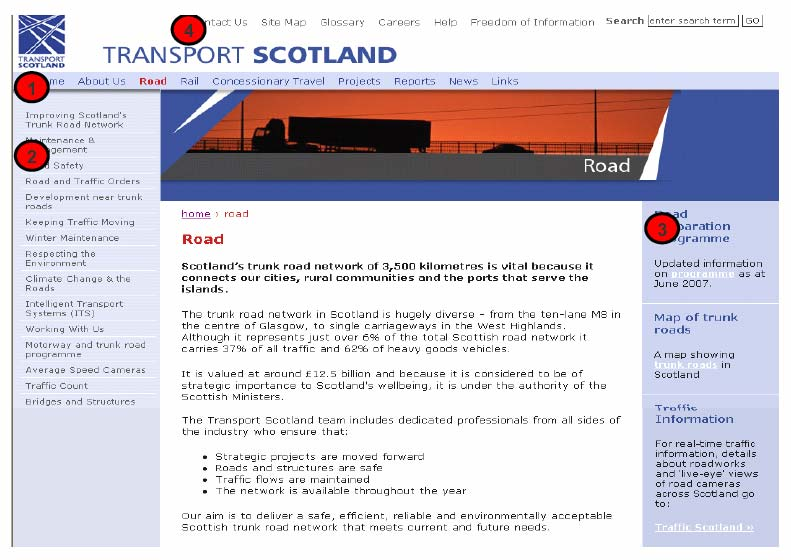 Figure 6.4: Navigation menus on the Transport Scotland website