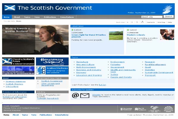 Figure 9.1: Scottish Government homepage