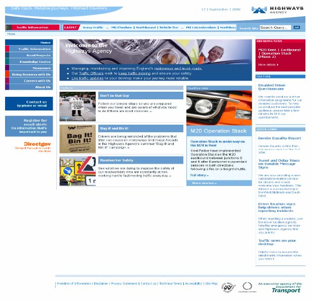 Figure 9.2: Highways Agency homepage