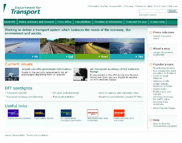 Figure 9.3: Department for Transport homepage