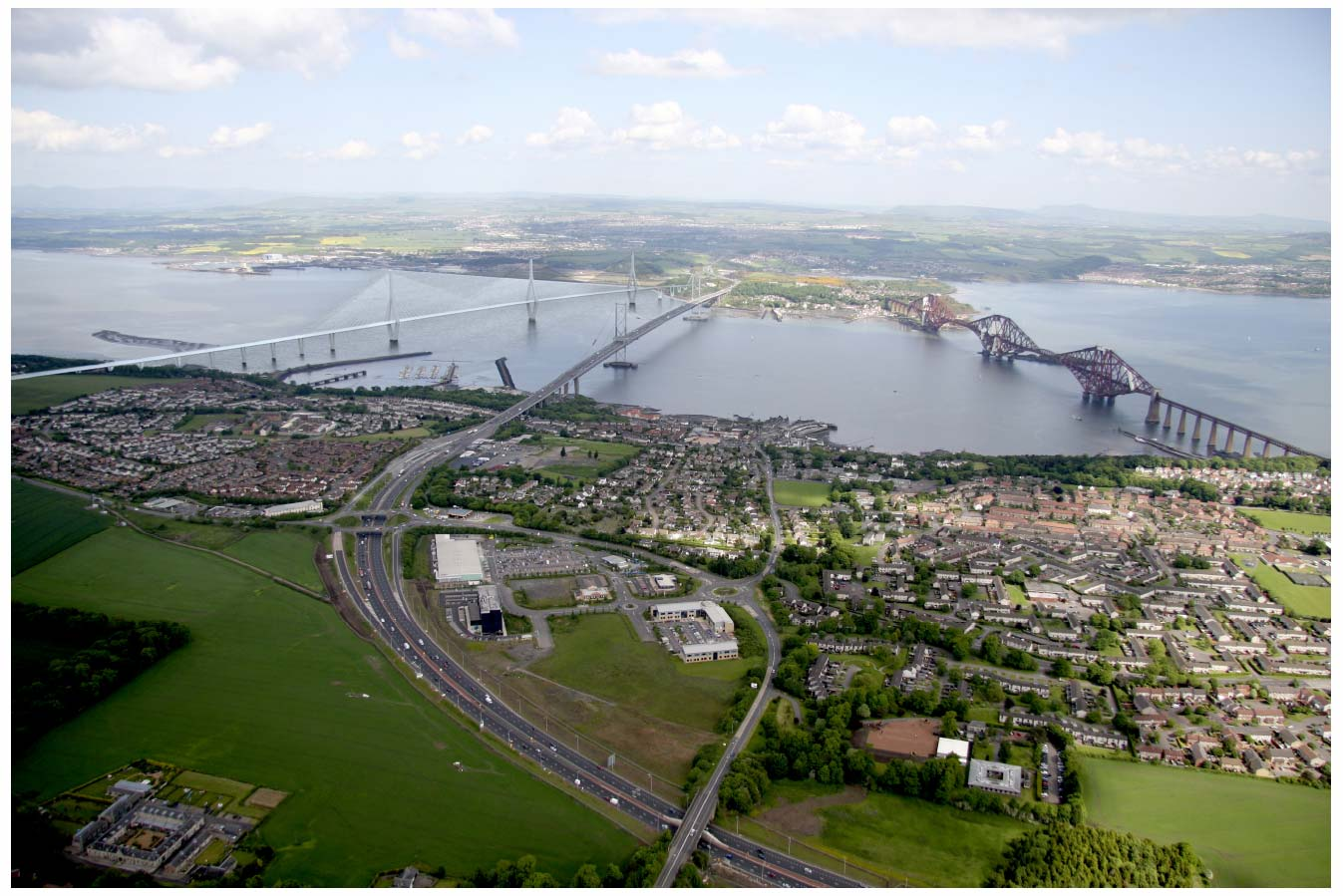 Diamond Tower viewed from above South Queensferry