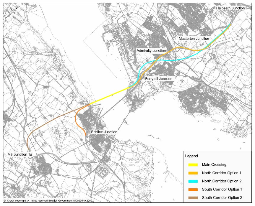 Figure 1.2: Route Corridors shortlisted for Stage 2 Assessment