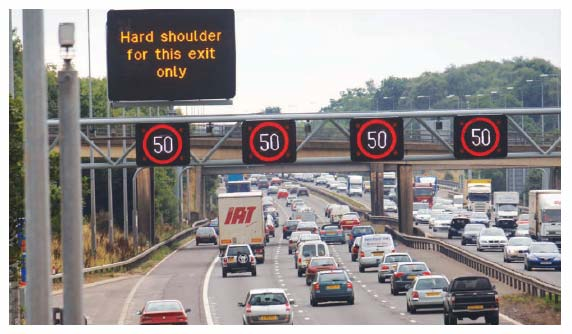 Figure 1.7: Use of Intelligent Transport Systems on the M42 in England (photograph courtesy of Highways Agency)