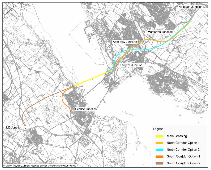 Figure 3.2: Route Corridors shortlisted for Stage 2 Assessment