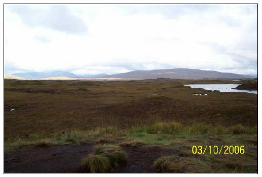 Figure 6.2 The vast expanse of Rannoch Moor blanketed with deglaciation features such as moraines and drumlins.