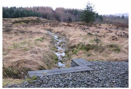Figure 3.4: Ephemeral stream which enter the southern culvert under A82 to Glasgow (looking upstream). (chainage 23m)