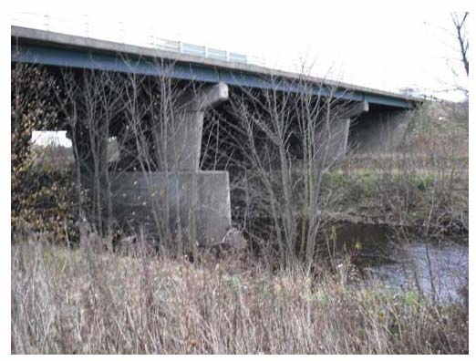Photograph 3.7: Downstream view of the River Almond channel cross section