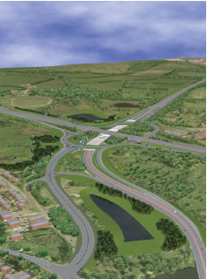 Visual of the new M74 Raith Interchange which forms part of the M8 M73 M74 Motorway Improvements project
