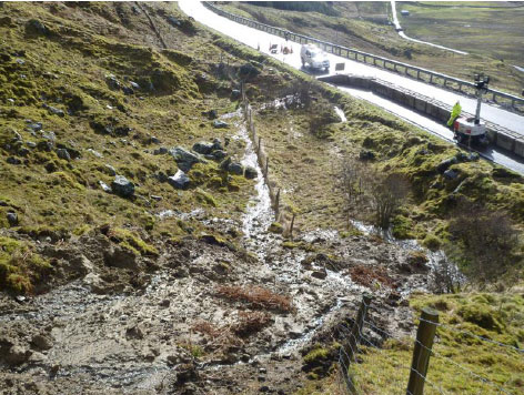 Landslip at A83 Rest and Be Thankful