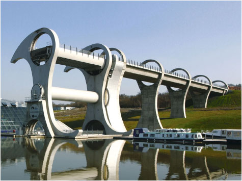 The Falkirk Wheel, which links the Union Canal to the Forth and Clyde Canal