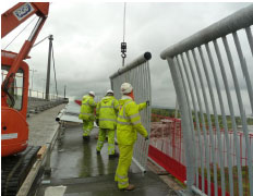 Installation of new higher parapet on the A898 Erskine Bridge