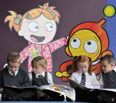 Children from St Peter's Primary School, West Dunbartonshire sharing Ziggy's adventures on his big road safety mission