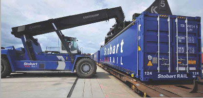 Container being loaded for transport by rail