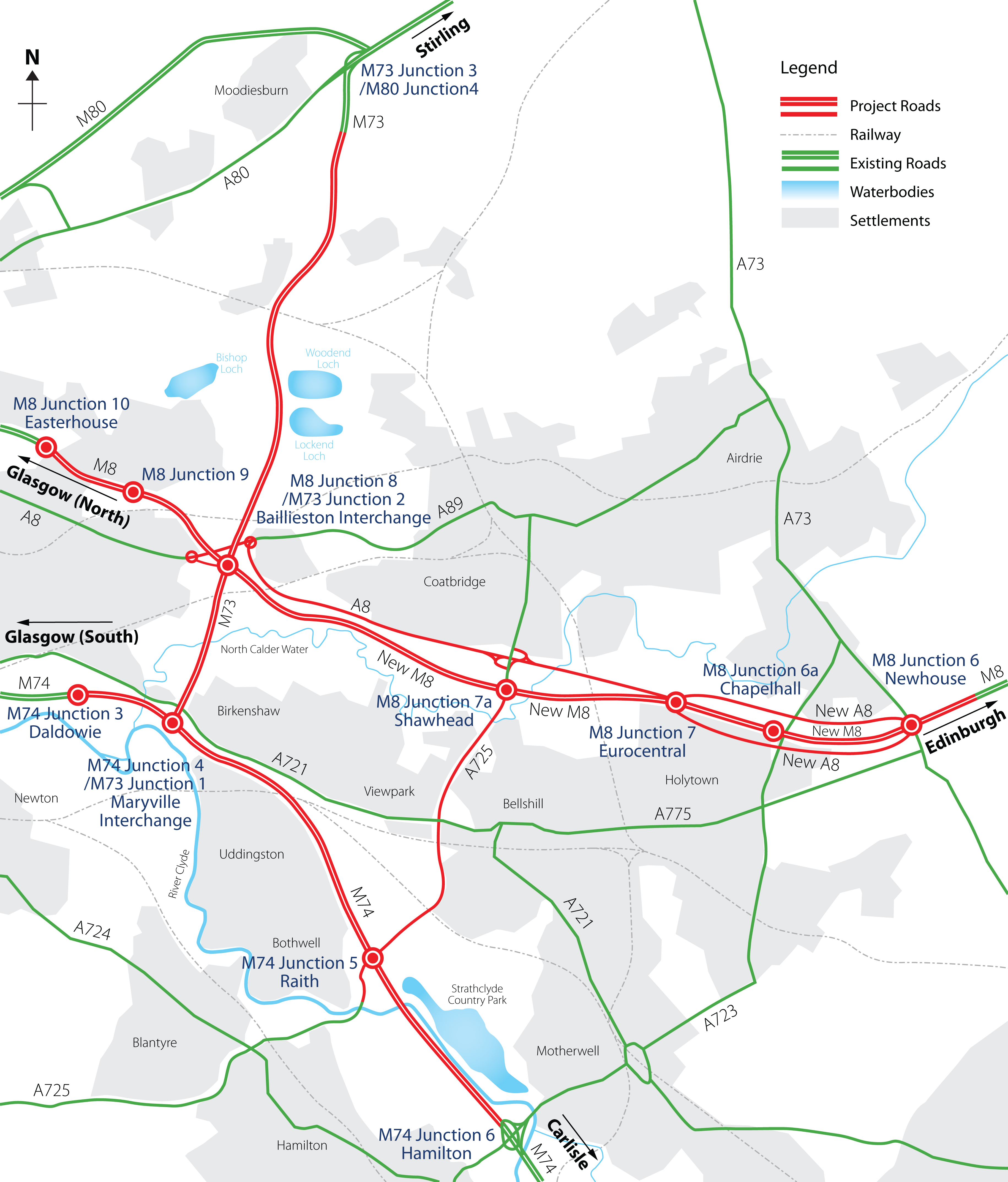 Map showing M8, M73 and M74 improvements
