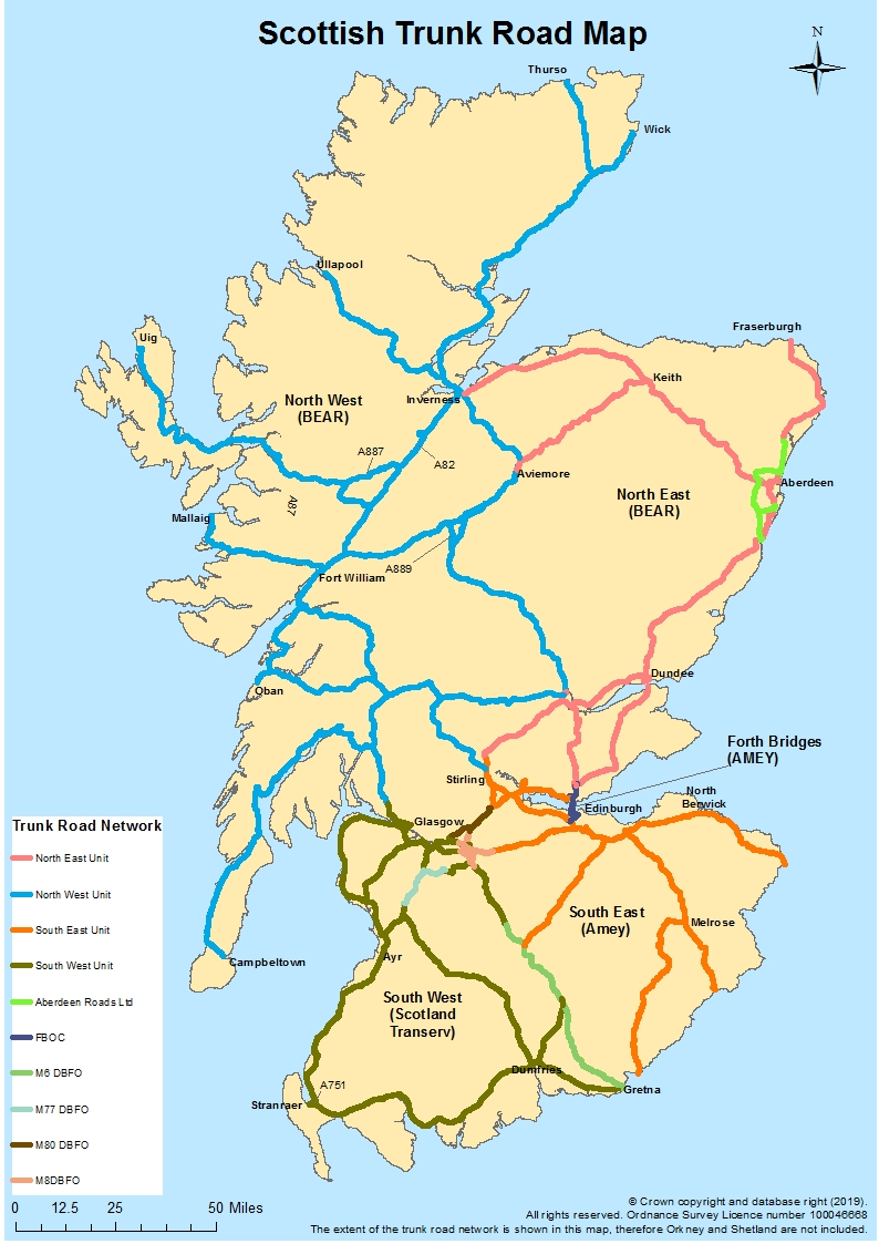 Scottish trunk road network map
