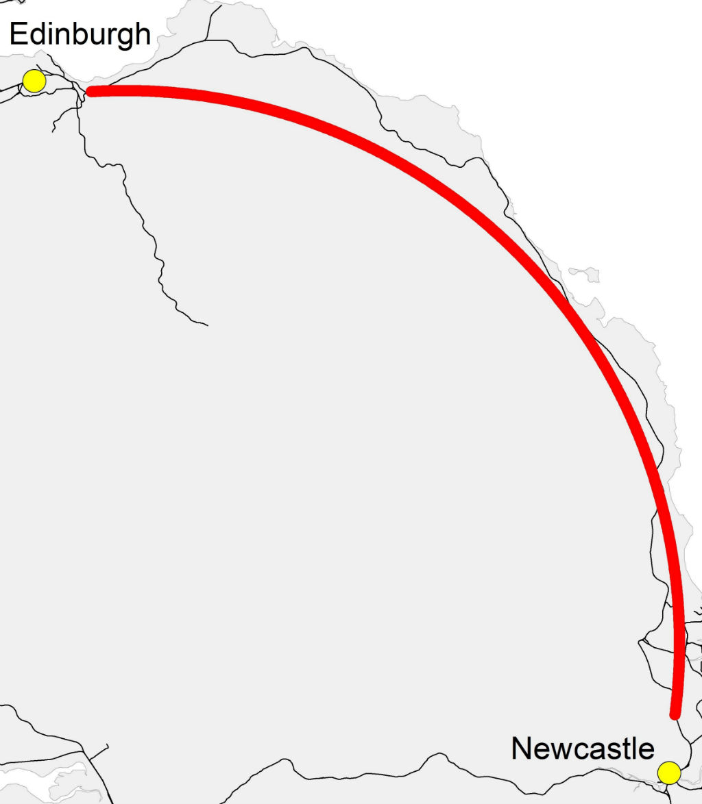 East coast rail option - Vector visualisation - not actual route