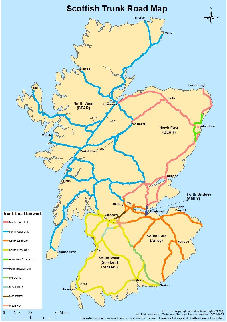 Scottish trunk road network map