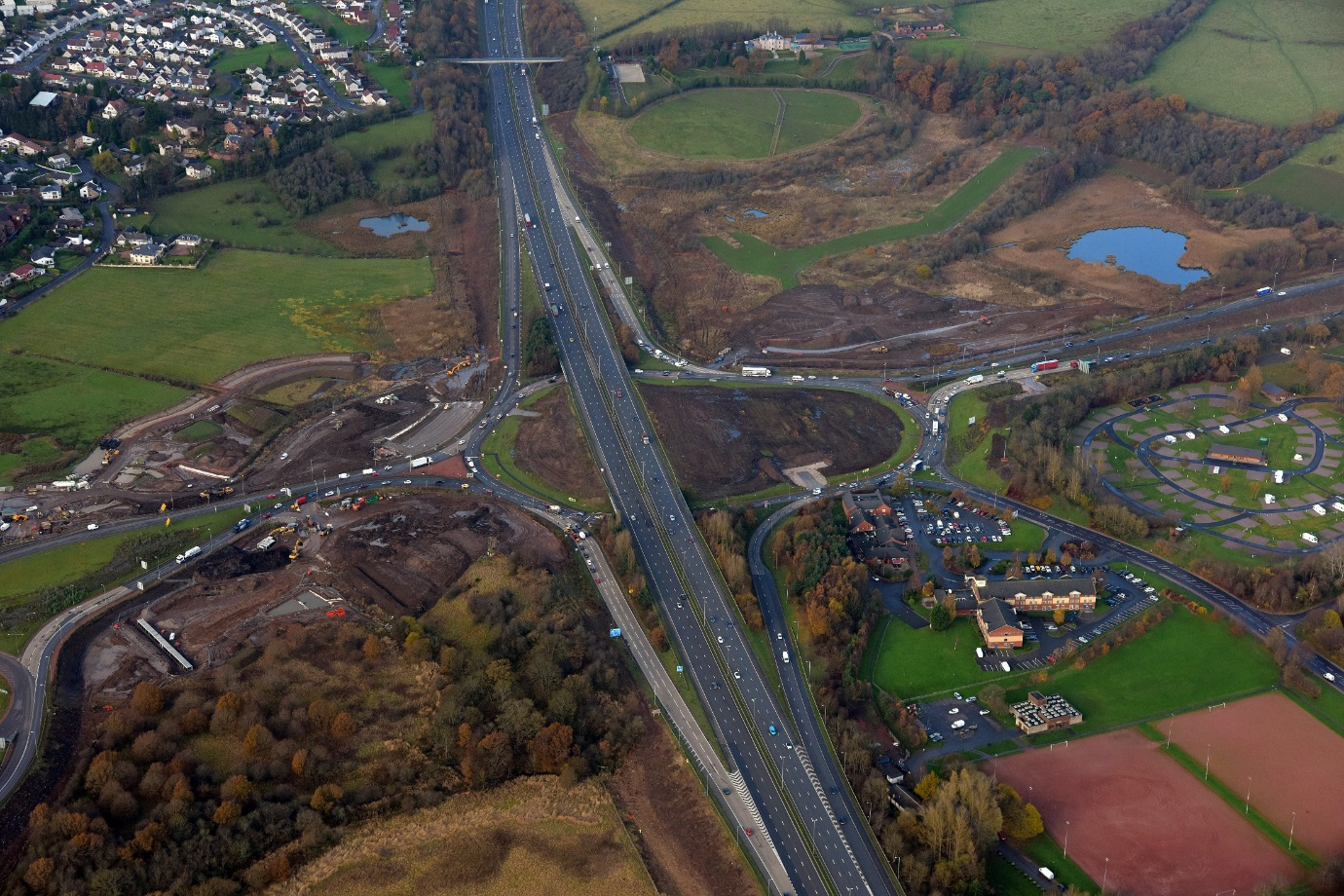 Aerial view of Raith Junction 5 of M74 during construction circa November 2014, prior to piling of the underpass