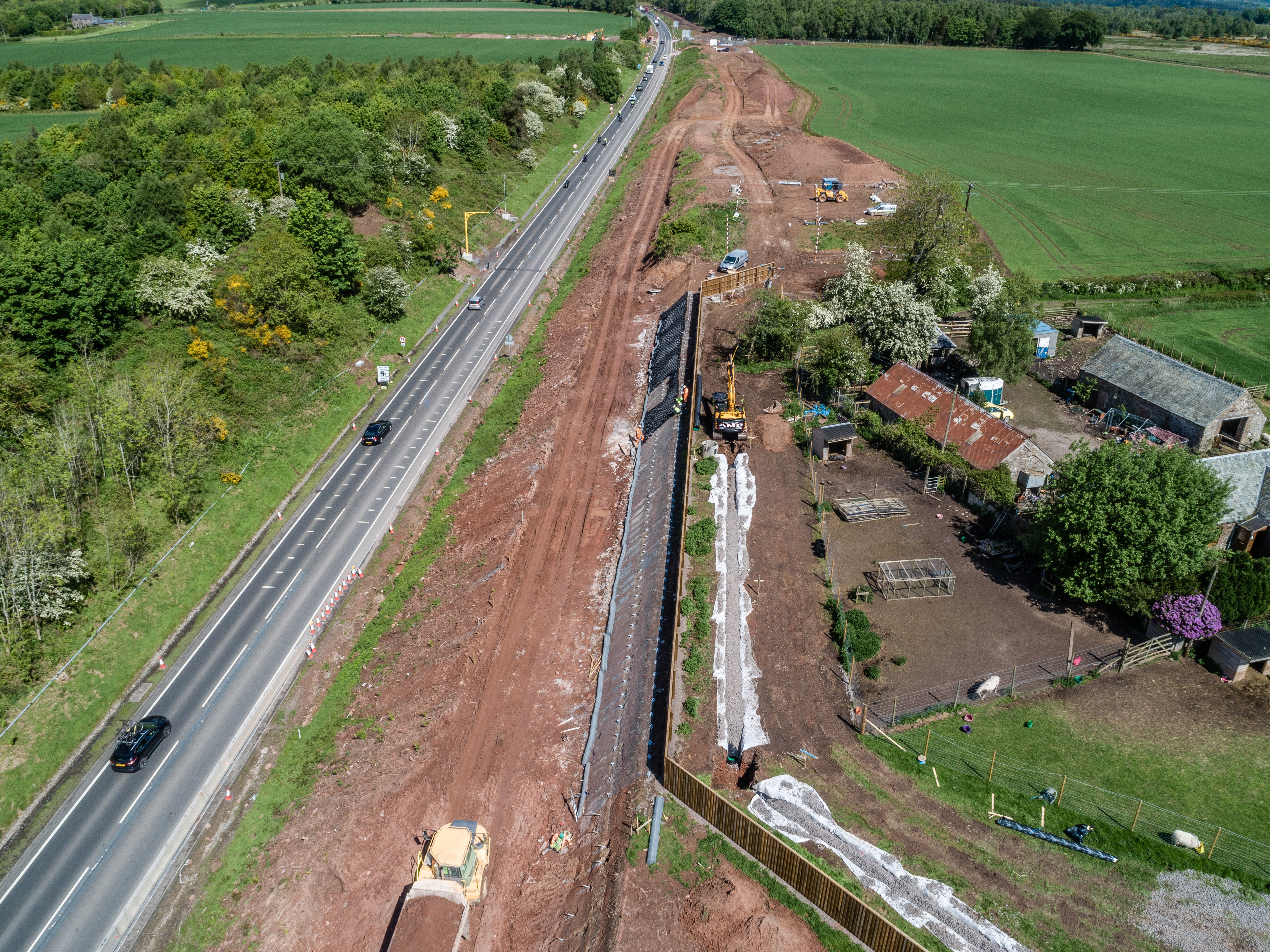 Aerial of soil nailing at Broompark