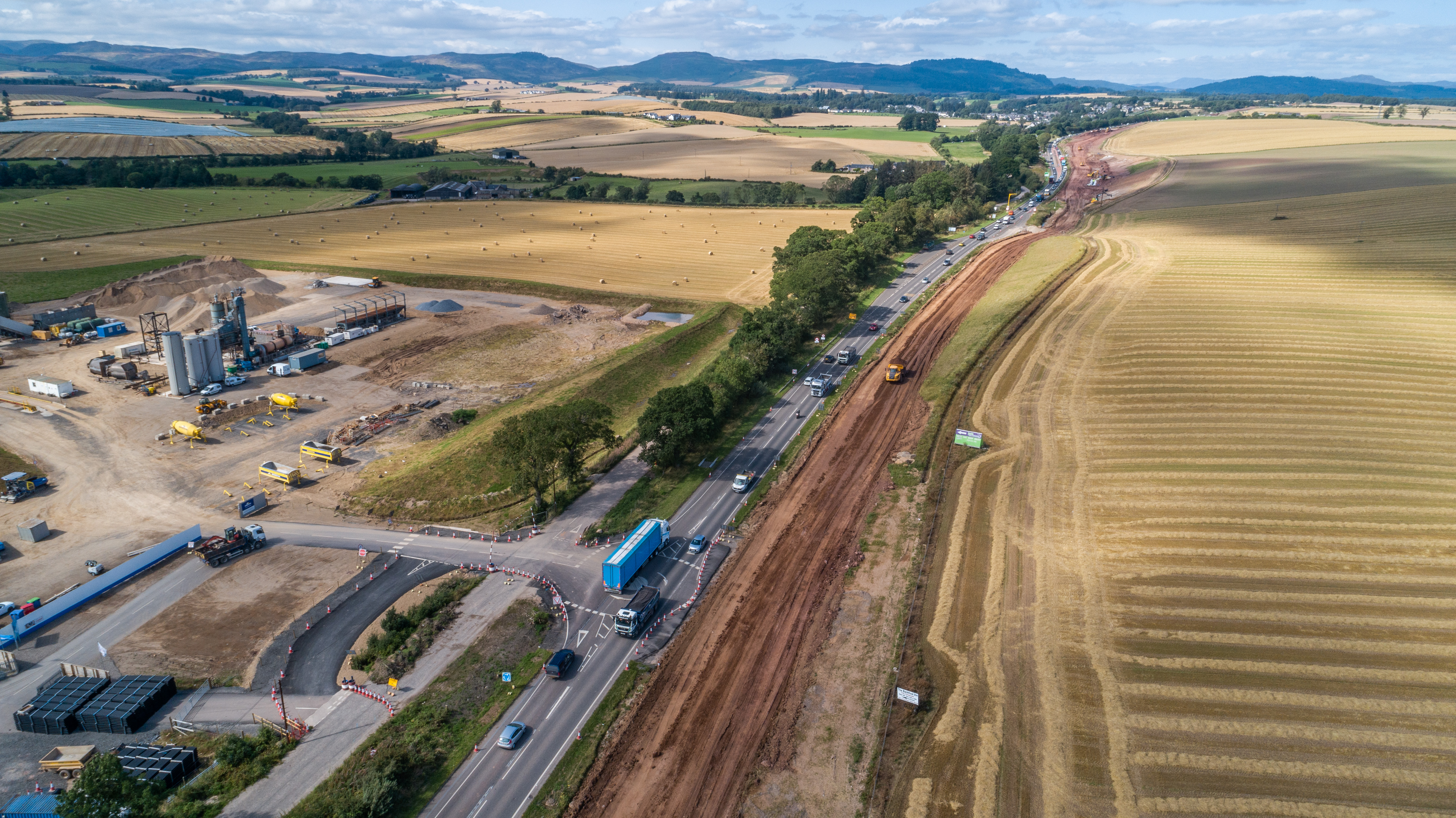 Aerial shot of temporary roundabout