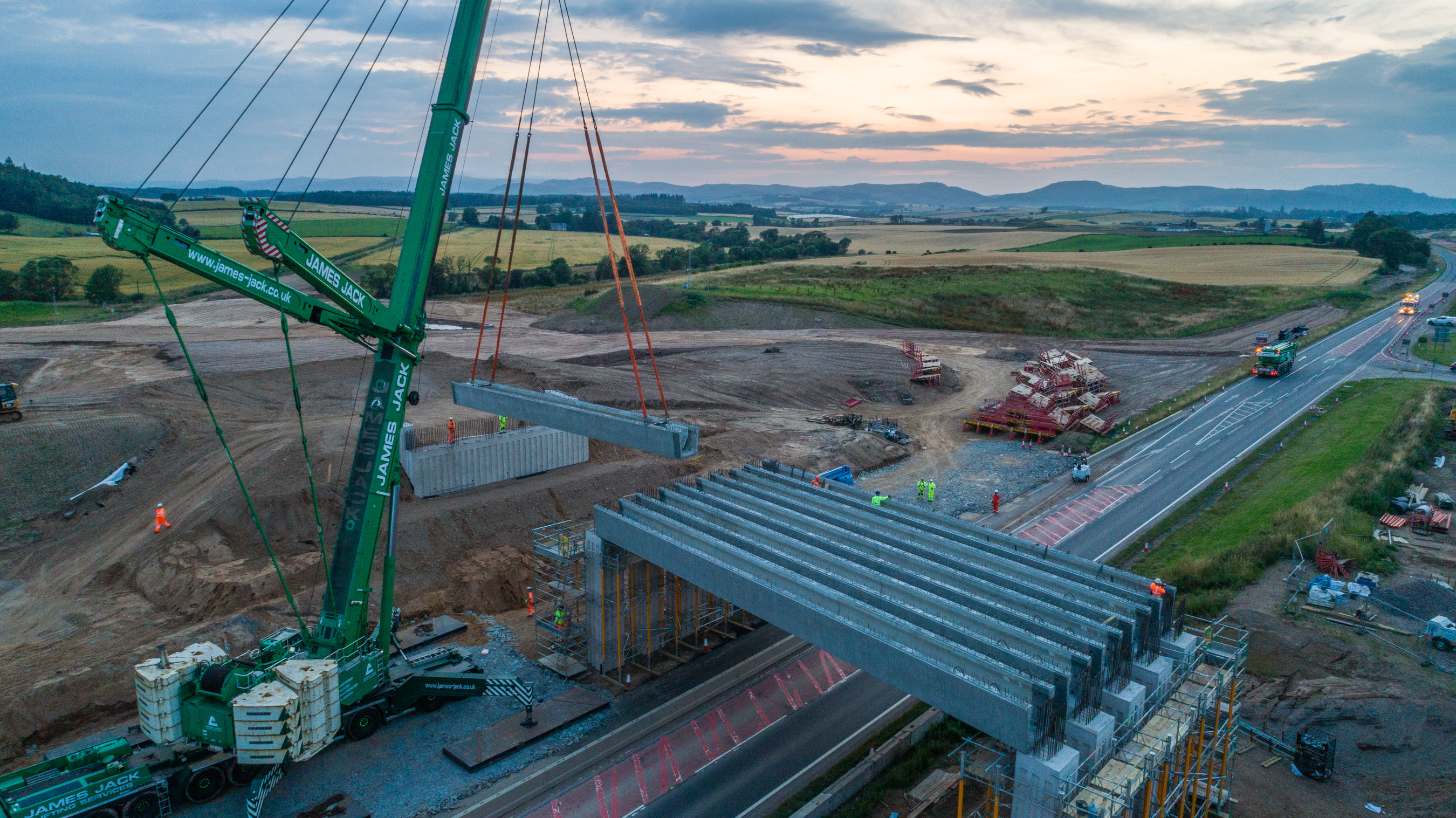 Aerial shot of beam lift at Tullybelton