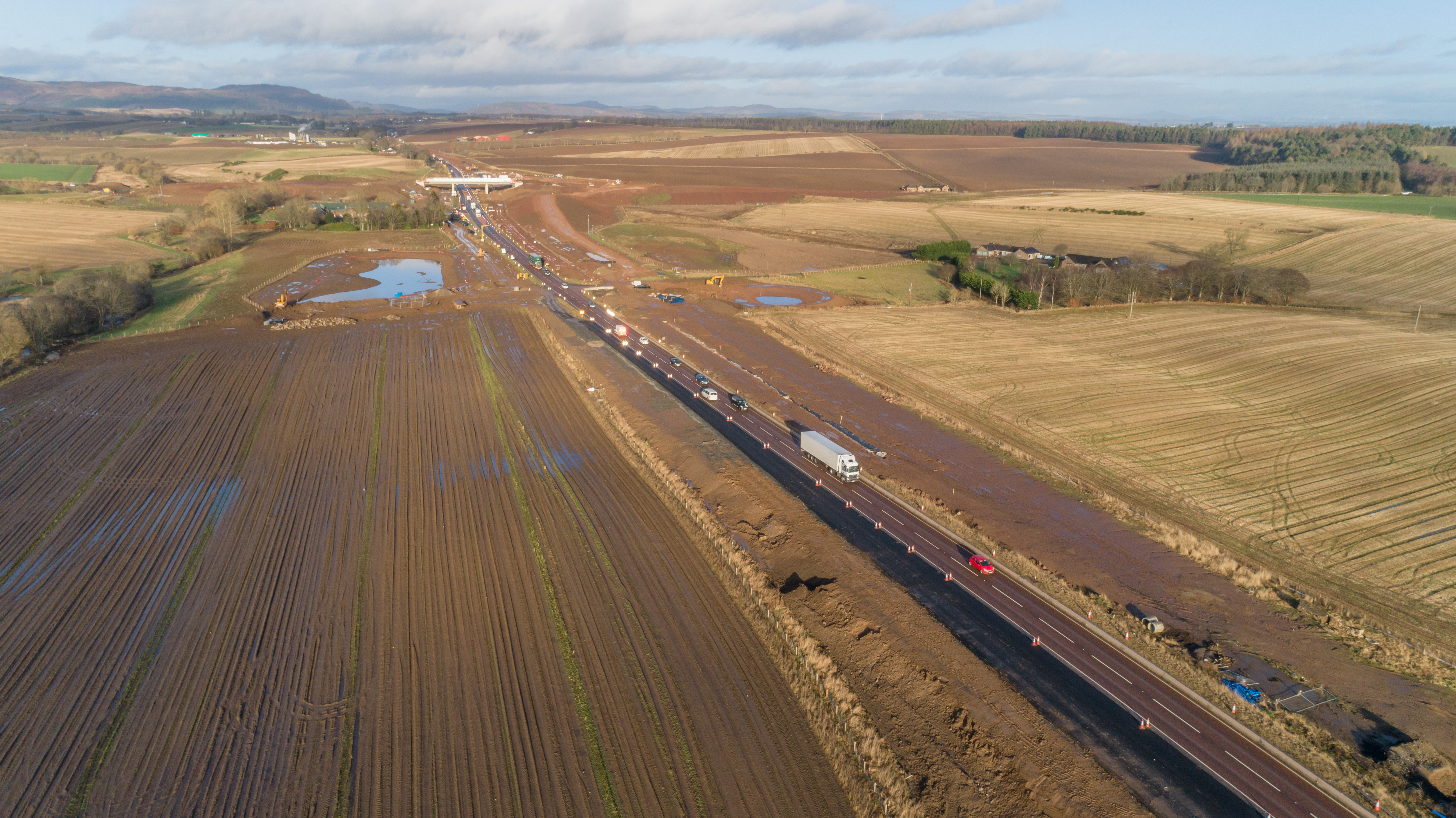 Aerial shot of carriageway with Tullybelton overbridge deck