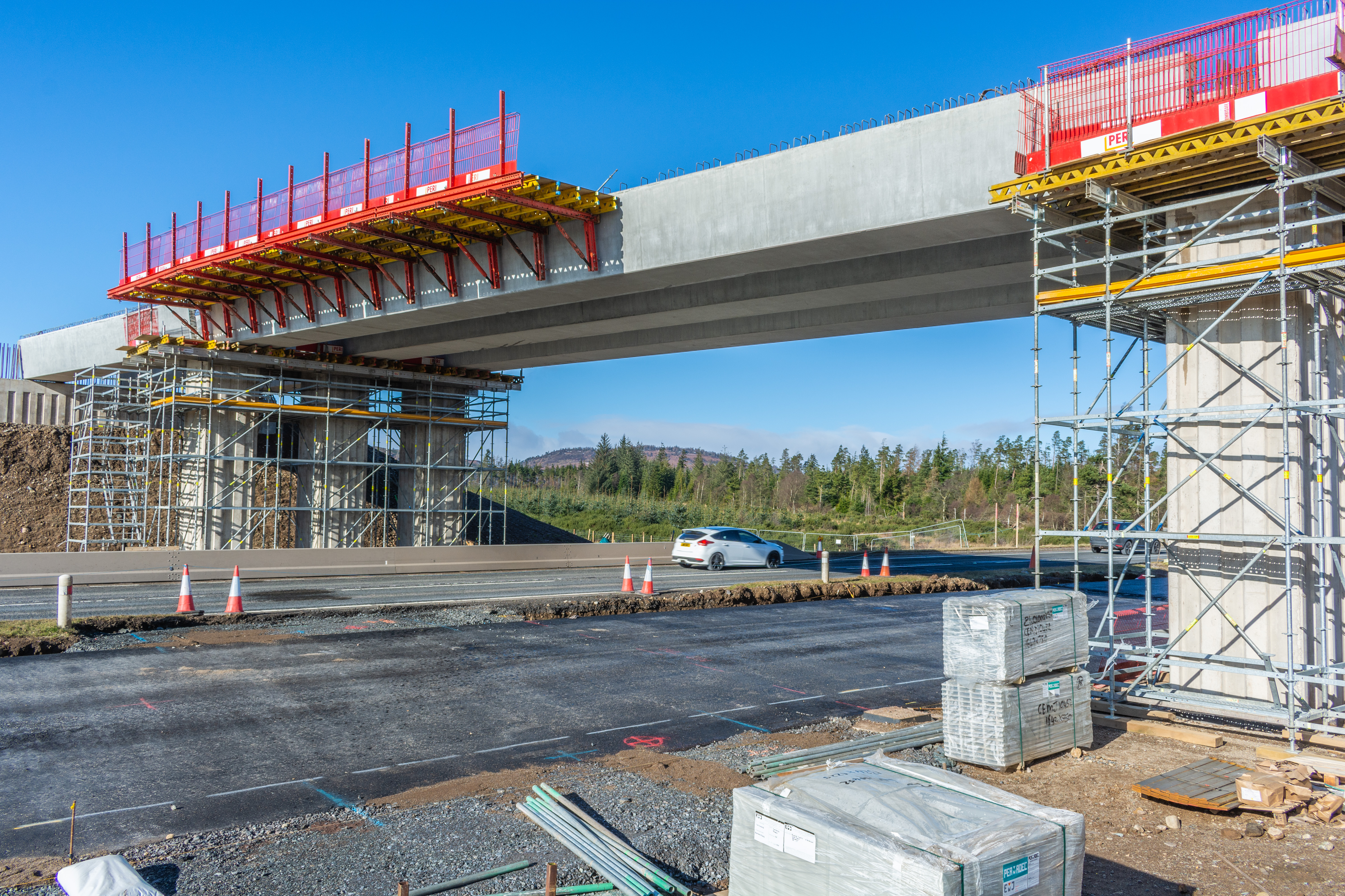 Image of the bridge beams in place