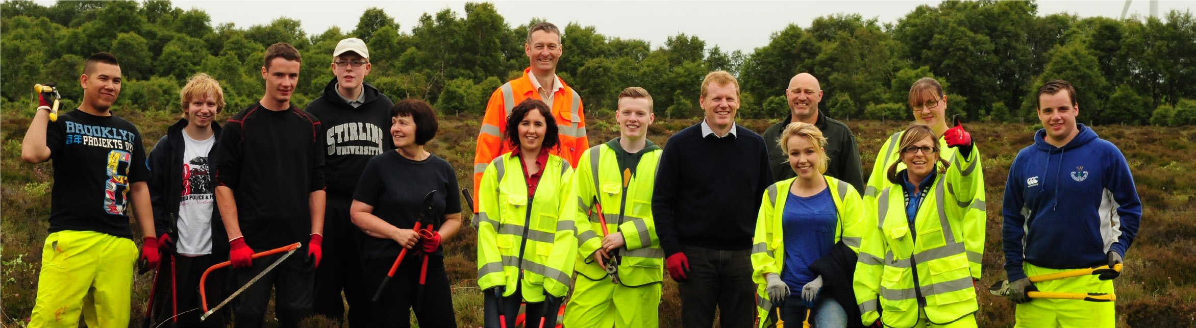 The M8 M73 M74 Motorway Improvements Project team volunteering with the Scottish Wildlife Trust at SSSI to preserve Cander Moss