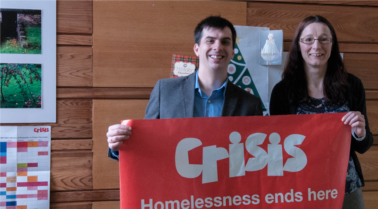 Raul Pascual, FLJV Project Director presenting £2,280 cheque to Elsie Riley, Crisis Fundraising Manager, Scotland
