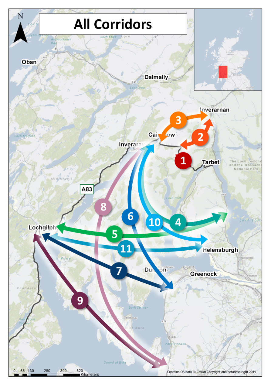 Map showing the eleven options under consideration during the first stage of the development work