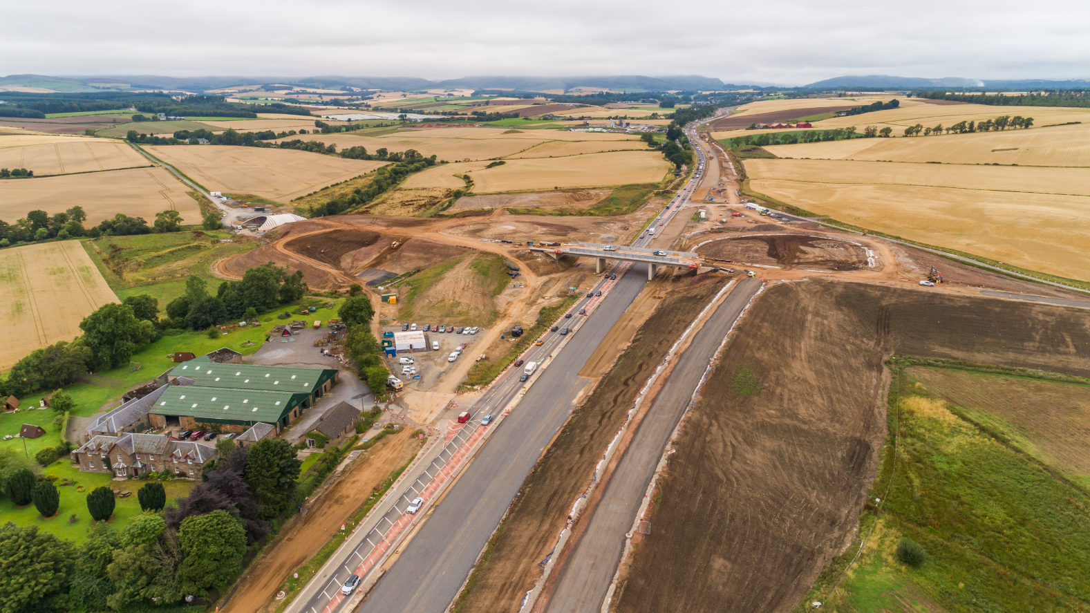 Aerial photo of the slip roads at the new Stanley/Tullybelton Junction.
