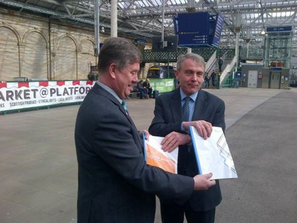 Keith Brown and Robert Goodwill at Edinburgh Waverley Station